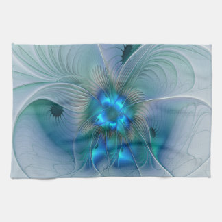Standing Ovations, Abstract Blue Turquoise Fractal Tea Towel