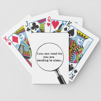 Standing to close bicycle playing cards