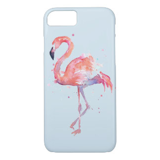 Standing Watercolor Pink Flamingo Bird iPhone 8/7 Case