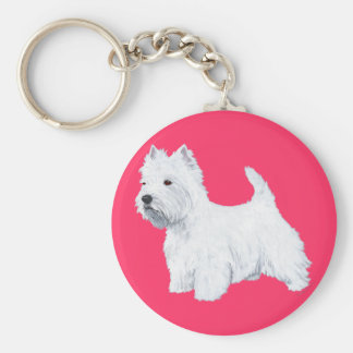 Standing West Highland White Terrier Basic Round Button Key Ring