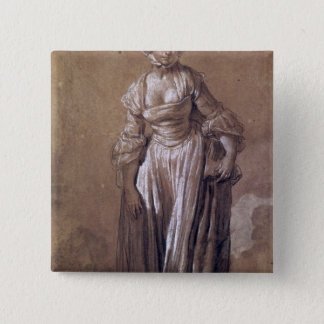 Standing Young Girl 15 Cm Square Badge