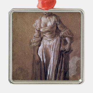 Standing Young Girl Silver-Colored Square Decoration