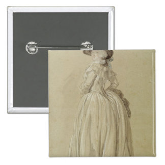 Standing Young Woman 15 Cm Square Badge