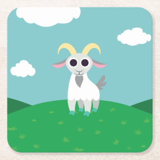 Stanley the Goat Square Paper Coaster