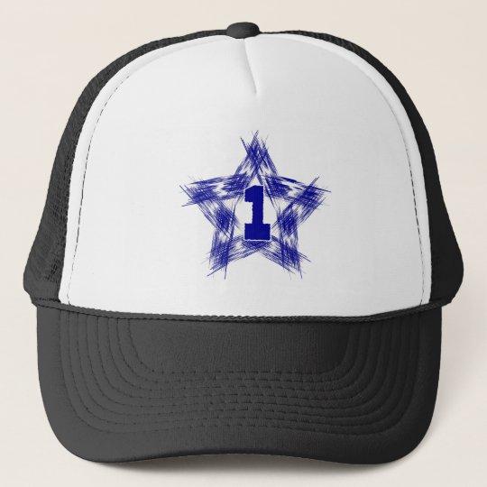 star-1 blue trucker hat