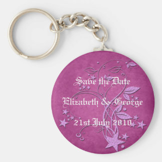 Star and Leaves Basic Round Button Key Ring