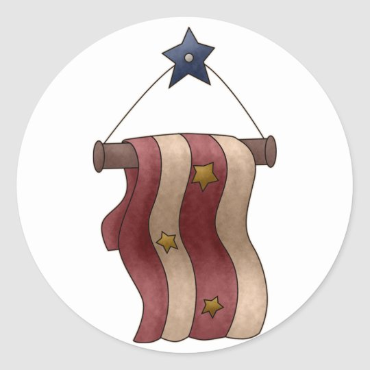 Star and Stripes Patriotic Hanging Banner Classic Round Sticker