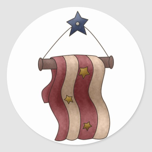 Star and Stripes Patriotic Hanging Banner Round Sticker