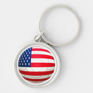 Star and Stripes - USA Soccer Silver-Colored Round Key Ring