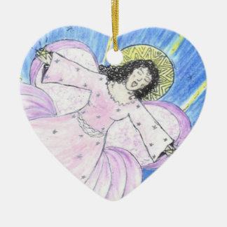 Star  Angel by Sandy Closs Ceramic Heart Decoration