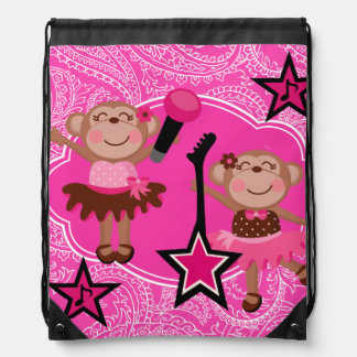 Star Ballerina Monkeys Drawstring Backpack Bag