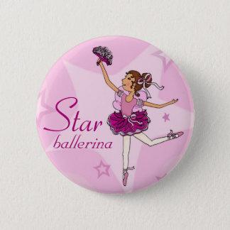 Star ballerina pink girl button