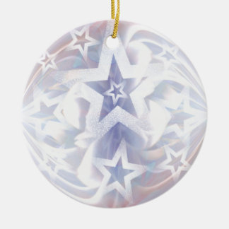 star bauble in white and lilac round ceramic decoration
