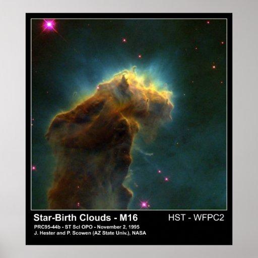 Star Birth Cloud M16 Hubble Telescope Photo Posters