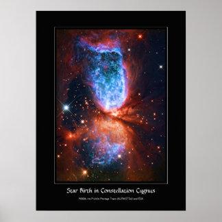 Star Birth in Constellation Cygnus, The Swan Poster
