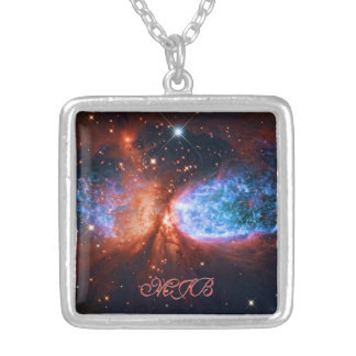 Star Birth in Constellation Cygnus, The Swan Silver Plated Necklace