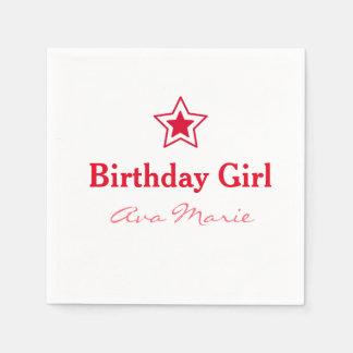 Star Birthday Girl Party Disposable Napkins