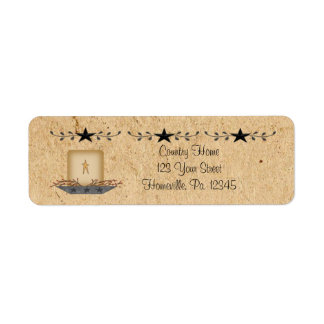 Star Border Candle Small Label