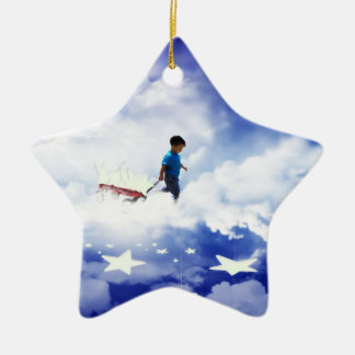 Star Boy with Little Red Wagon of Stars Christmas Ornament