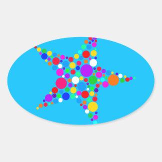 Star Bright Rainbow Christmas Dotty Spot Design Oval Sticker