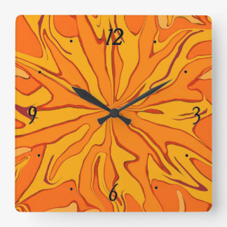 star burst orange clock