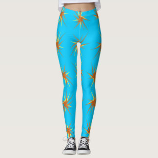 Star bursts pattern in cream and beige, turquoise leggings