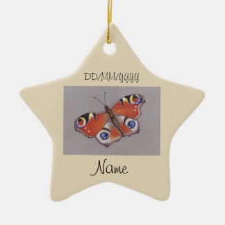 Star Ceramic Ornament with Peacock Butterfly