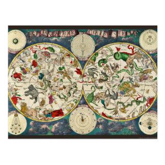 Star Chart Celestial Map Vintage Astronomy Postcard