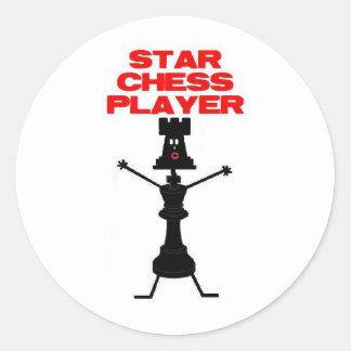 Star Chess Player Cartoon Classic Round Sticker