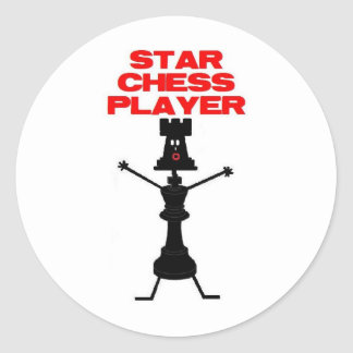 Star Chess Player Cartoon Round Sticker