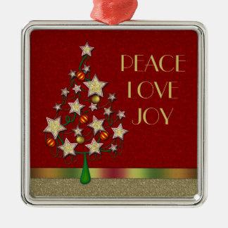 Star Christmas Tree Silver Square Ornament