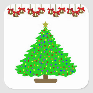 Star Christmas Tree Square Sticker