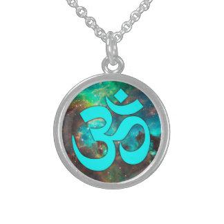 Star Cluster Aqua Om Symbol Sterling Silver Necklace