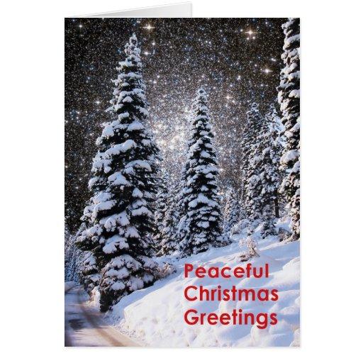 Star Cluster Snowy Trees Christmas Card