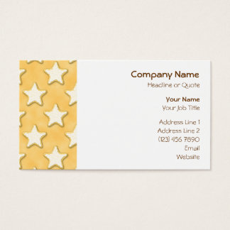 Star Cookies Pattern. Golden Yellow. Business Card