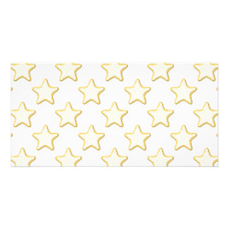 Star Cookies Pattern. On White. Photo Card Template
