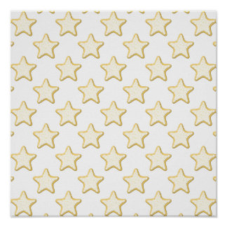 Star Cookies Pattern. On White. Poster