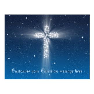 Star Cross #5 - Postcard Horizontal Light Blue