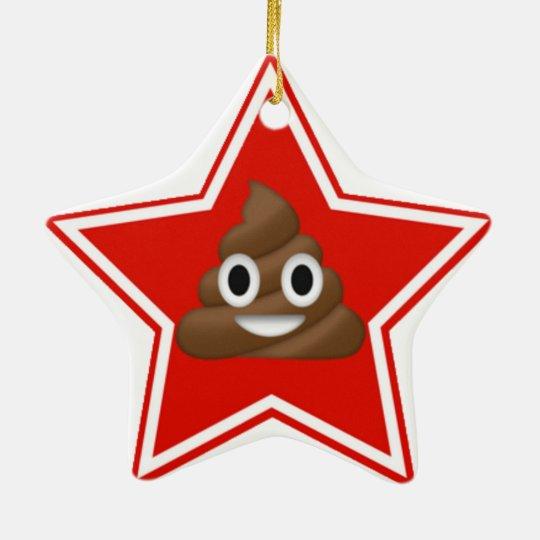 Star Emoji Poo Dble-Sided Christmas Ornament