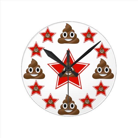 Star Emoji Poo Round Clock