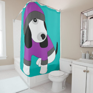 Star eye cute dressed puppy dog shower curtain