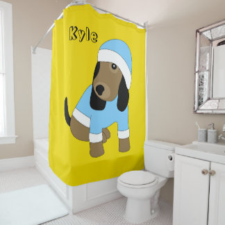 Star eye cute puppy dog yellow shower curtain