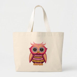 Star Eye Owl - Pink Orange Jumbo Tote Bag