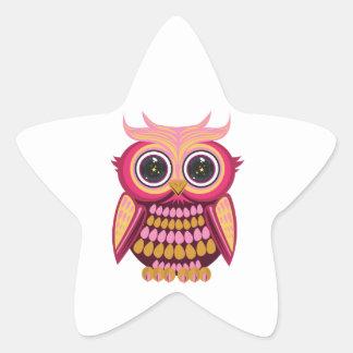 Star Eye Owl - Pink Orange Stickers