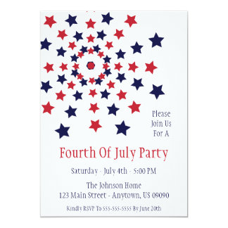 Star Firework Fourth Of July Invitations