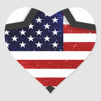 Star Flag Heart Sticker