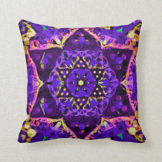 Star Flower Mandala in Purple by Amelia Carrie Cushion