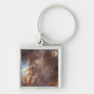 Star formation Silver-Colored square key ring