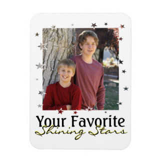 Star Frame Photo Template with Custom Text Rectangular Photo Magnet