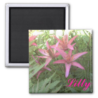 Star gazer lilys close up, Lilly Square Magnet